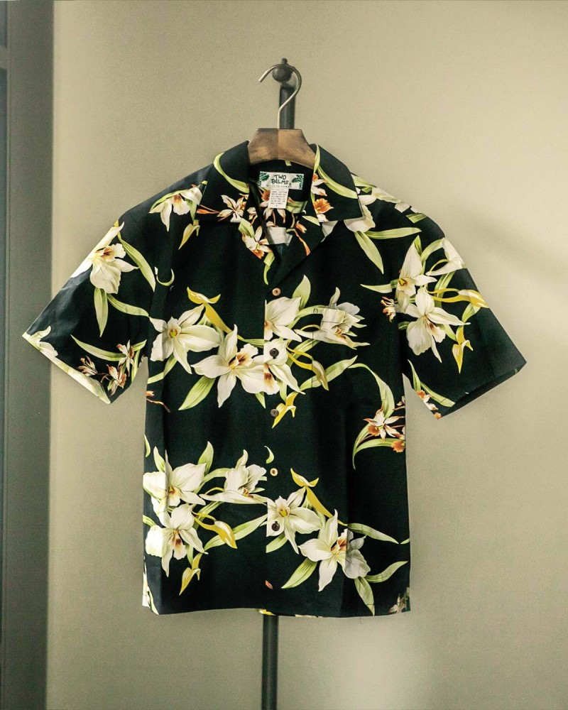 Two Palms|Orchid Aloha Shirt・Black