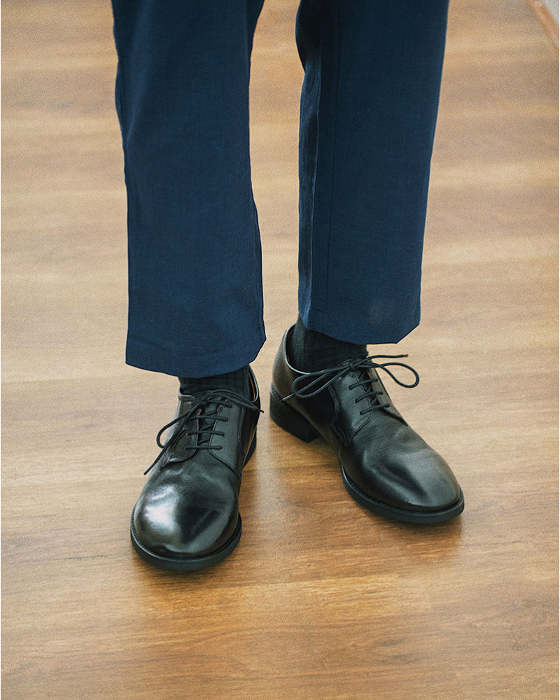 HALHAM Easy Wide Tapered Pants・Navy