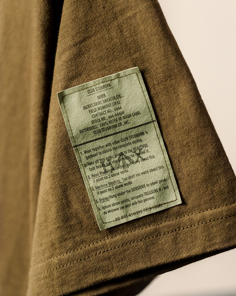 Club Stubborn x HOAX Embroidered Broad Arrow Washed T-Shirt.Olive