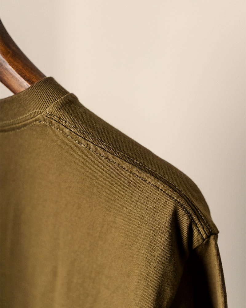 Club Stubborn x HOAX|Embroidered Broad Arrow Washed T-Shirt.Olive