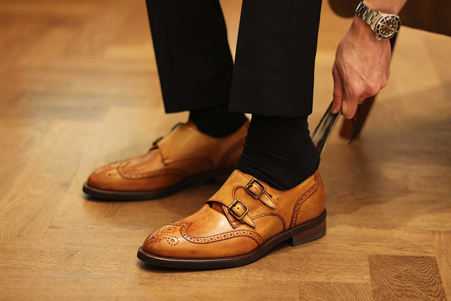 Calzoleria Toscana Double Monk Wingtip Shoe